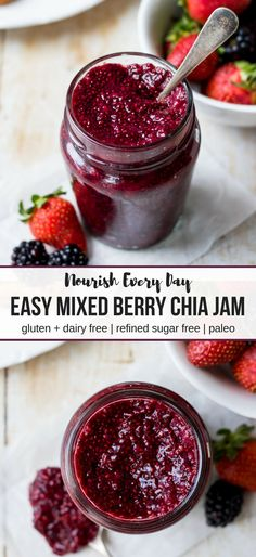 Pinterest graphic for easy mixed berry chia jam recipe by Nourish Every Day