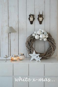 white & silver christmas ball wreath
