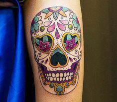 Nice 3 colors mexican tattoo style of sugar skull motive done by artist Alexey Moroz Tattoo Sunflower Tattoo Shoulder, Sunflower Tattoo Small, Sunflower Tattoos, Sunflower Tattoo Design, Mexican Tattoo, Sugar Skull Tattoos, World Tattoo, Buy Crystals, Tattoos Gallery