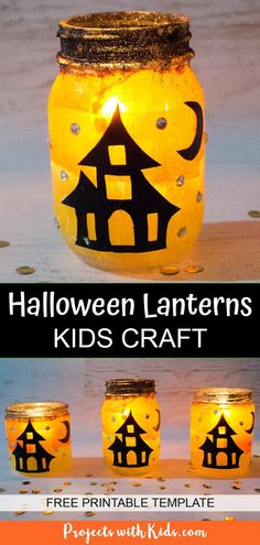 Make these gorgeous Halloween lanterns that sparkle and glow in the candlelight! A fun Halloween craft for kids and beautiful seasonal decoration. Free printable templates included. #projectswithkids #halloweencrafts #halloweenlanterns #kidscrafts