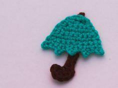 Gehäkelte Regenschrim Applikation - Crochet umbrella applique