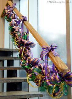 Hang your Mardi Gras garland with coordinating ribbon!