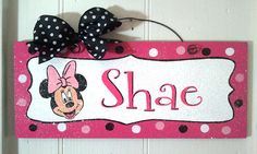 Custom Minnie Mouse sign in hot pink or red by DiamondDustDesigns, $13.00