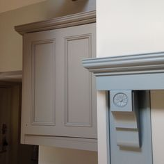 Little Greene Paint French Grey to walls, Lead Colour to cupboard and the mantle finished in Bone China Blue Grey Furniture, Kitchen Furniture, Blue Kitchen Paint, Paint Colors For Home, Paint Colours, Little Greene Paint, Living Room Kitchen, Dining Rooms, Blue China