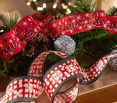 Set of Two 10 yard Ribbon; choice of peppermint or let it snow (shown). H206640. http://qvc.co/-Shop-ValerieParrHill