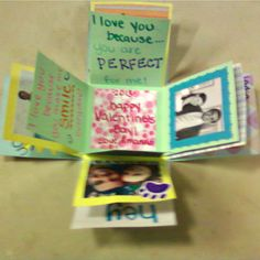 "Exploding love box! (sorry for the blurry pic) I used pictures, quotes, and ""I love you because's"" then I filled the box with candy. It was a perfect gift for Valentine's Day!"