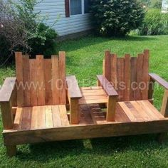 A Two-Seater With Integrated Table Out Of Repurposed Pallets