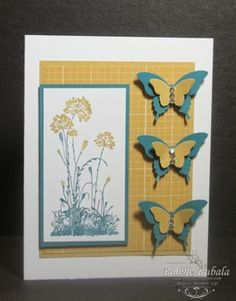 handmade card from Techno Stamper ... Monday Lunchtime Sketch Challenge 319 ... yellow, aqua, white ... three punch and layered butterflies ...  great card!
