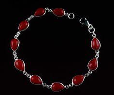 925 STERLING SILVER JEWELRY RED ONYX NATURAL GEMSTONE HANDMADE BRACELET KJB05 #Unbranded