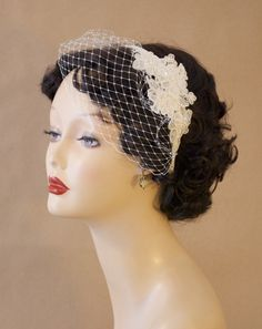 """Bridal Birdcage Veil Blusher with Alencon Lace, Bead, and Sequin Fascinator - """"Marcia"""". $60.00, via Etsy."""