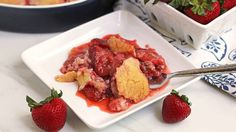 Traditional strawberry cobbler gets a quick twist with an easy sugar-cookie topping.