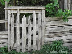 Old rustic wood post country gate by Ken Backer, via Dreamstime