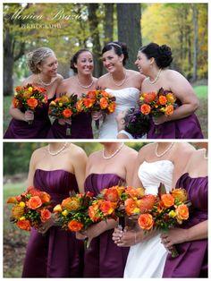 fall themed wedding flowers #wedding #bouquets #photography www.monicabrazier.com