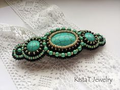 Hair barrette with turquise by KistaT Jewelry