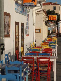 Lemnos island, North Aegean sea, Greece a colorful tavern by the sea Mykonos, Santorini, Samos, Great Places, Beautiful Places, Greek Isles, Paradise On Earth, Greece Islands, Color Of Life