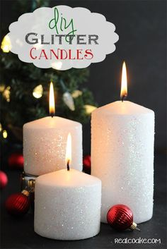 Tutorial on how to make a glitter candle. Easy DIY Home Decor which will be perfect to add to my Christmas decorations.