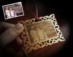 Photo Ornament (custom laser engraving). $34.00, via Etsy.