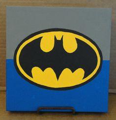 Minimalist Batman  Acrylic on 8x8 Canvas by TwoLittleBats on Etsy, $10.00