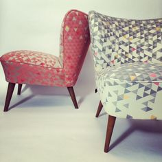 Cocktail Chairs by Self. these beautiful 1950's originals are sympathetically restored and seen here in HBF's retro geometric 'Equation' fabric