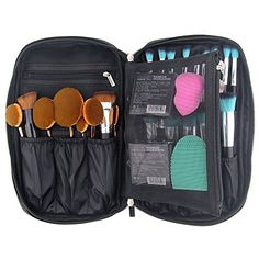 OR Pure Professional Cosmetic Makeup Brush Organizer Makeup Artist Case with Belt Strap Holder Cosmetic Makeup Bag Handbag Black -- Click image for more details.Note:It is affiliate link to Amazon.