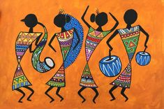 Worli Painting, Art Painting Gallery, Saree Painting, Doodle Art Drawing, Cool Art Drawings, Art Sketches, Madhubani Art, Madhubani Painting, Indian Wall Art