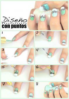 DIY: Diseño de uñas con puntos. Hazlo tu misma siguiendo paso a paso este tutorial y con la ayuda de una púa para decorar las uñas.