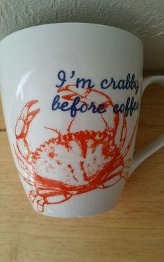 Pfaltzgraff Crab Mug Crabby Before Coffee #Pfaltzgraff