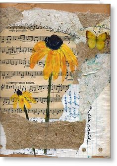 Mixed media - acrylics on a collage of handmade and upcycled papers and old sheet music. #MixedMedia
