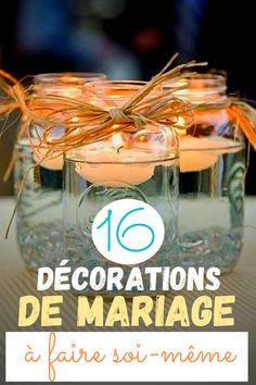 16 décorations de mariages DIY Photo Souvenir, Table Decorations, Tableware, Glass, Photos, Pom Poms, Painted Glass Bottles, Floating Candles, Dinnerware