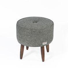 Lana Harris Tweed Button Stool // Grey Herringbone #furniture #midcentury #Tweed