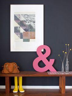 Love the dark wall color + pop of color—lou mora & sarah yates on design*sponge Dark Walls, Blue Walls, White Walls, Color Inspiration, Interior Inspiration, Sweet Home, Entry Way Design, Deco Design, Interiores Design