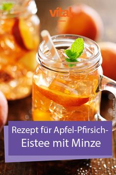 Rezept für Apfel-Pfirsich-Eistee mit Minze On hot days we long for a cool drink. # Industrial soft drinks are like sand by the sea, but they have one disadvantage: most industrially produced drinks contain a lot of sugar. Like your fresh and healthy Tea Healthy Drinks For Kids, Healthy Juice Recipes, Smoothies For Kids, Healthy Juices, Fruit Smoothies, Healthy Smoothies, Healthy Snacks, Smoothie Menu, Smoothie Recipes