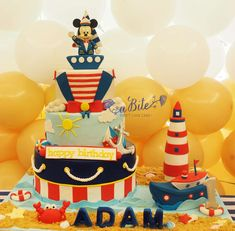 Abite Atelier's Birthday / Mickey Mouse - Photo Gallery at Catch My Party Nautical Birthday Cakes, Mickey Mouse Birthday Cake, Minnie Mouse Cake, Mickey Party, Nautical Mickey, Nautical Cake, Happy Birthday Adam, 70th Birthday Parties, Mickey Mouse Marinero
