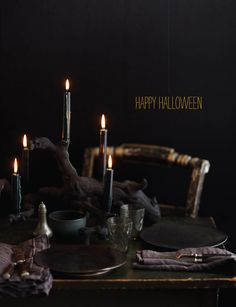 flat black painted tablescape for Halloween