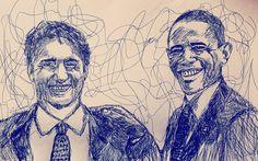 Scribble Portrait of Obama and Trudeau Portrait Art, Scribble, Obama, Doodle