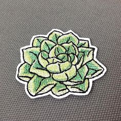 Echeveria succulent patch - Embroidered cute patches for jackets, jeans or backpack - Patch iron on Do you love succulent plants? They look so cute! It will look great on your clothes, bag or backpack. With iron on backing it takes just a couple of minutes to add this patch to almost any