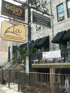 Outside the restaurant in Chicago - Geja's Cafe!