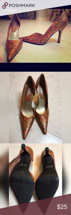 Orange Snake Skin Pumps Very cute pumps!  Minor scuffing on the inside of the shoes but the outsides are immaculate! Diba Shoes Heels
