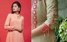 the seasons hottest trend cold shoulders make for a glam combination but I suggest you go a step further and a cold shoulder to frill sleeves. Kurti Sleeves Design, Sleeves Designs For Dresses, Kurti Neck Designs, Salwar Designs, Sleeve Designs, Blouse Designs, Dresses With Sleeves, Kurtha Designs, Fancy Kurti