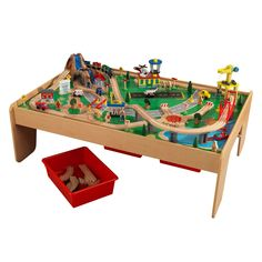 KidKraft Waterfall Mountain Train Set & Table with 120 Accessories Included - Walmart.com - Walmart.com Toys R Us, Train Set Table, Crane Lift, Play Table, Lego Table, Wooden Train, Plastic Bins, Model Train Layouts, Playrooms
