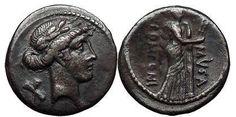 Ancient Coins - Q.POMPONIUS MUSA, EUTHERPES, the muse of Lyric Poetry, Rome, 66 B.C.,  AR Denarius.