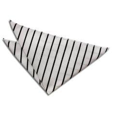 $4, DQT Single Stripe White Black Handkerchief Pocket Square. Sold by DQT. Click for more info: https://lookastic.com/men/shop_items/89283/redirect