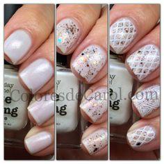 White Wedding mani creation by Colores de Carol!  WOW thank Carolina!