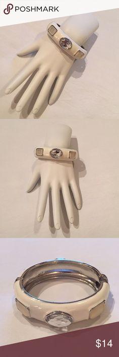 """Nwt, Chico's """"Bekea"""" White Enamel Bangle Brac New with tags, Chico's """"Bekea"""" white enamel hinged bangle bracelet with jeweled accents, retail $29 Chico's Jewelry Bracelets"""