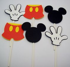 12 Mickey Mouse Head Pants & Glove Cupcake by sparklebystephanie, $10.00