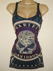Harley Davidson Willie G Skull Tank TOP Purple Foil Medium NEW | eBay