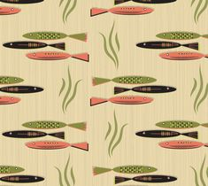"""Fabric+""""Mid-Century+Modern+Fish+Lrg""""+by+Carswell+King"""