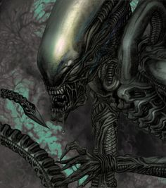 A different take on an earlier upload. The Alien from Ridley Scott's 1979 masterpiece. Pencil and Paint Shop. Drawn in 1983!