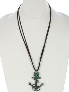 FAUX LEATHER AGED FINISH METAL ROPED ANCHOR PENDANT WITH HAMMERED TEXTURE NECKLACE - FREE SHIPPING
