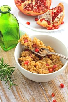 Pomegranate-rosemary Risotto is creamy and savory. The pomegranate seeds add a slight sweetness to this dish, perfect for the holidays.